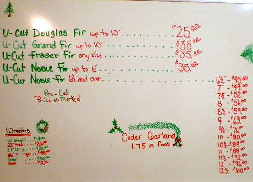 Pete Pederson X'mas Tree Prices