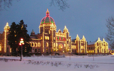Victoria, B.C. Parliament buildings in the snow