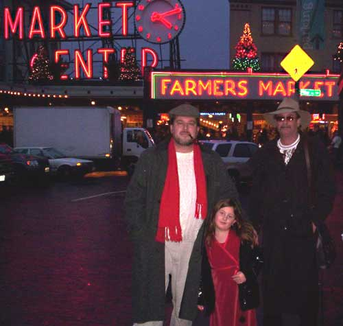 The Author and Friends outside Pike Place Market, 2005