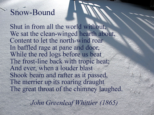 "Excerpt from ""Snow-Bound"" (1865), by James Greenleaf Whittier"