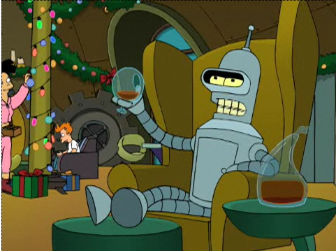 Bender drinks a dubious health to himself